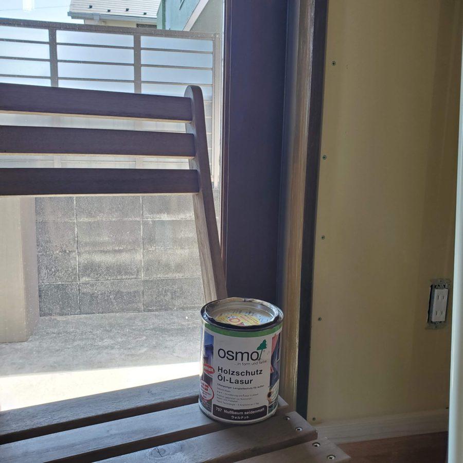 玄関室内側ドア枠 オスモカラー 外装用 ウォルナット(707)2度塗り