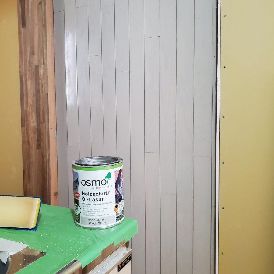 キッチン羽目板 オスモカラー 外装用 パールグレー(906)2度塗り